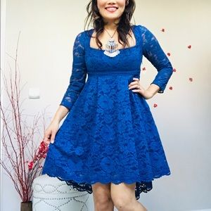 ✨Free People Royal Blue Floral Lace Empire Dress✨